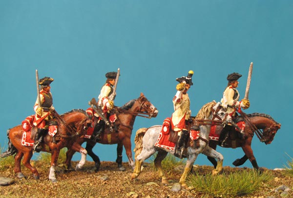 7 Years War: Austrian Cuirassiers Set 5- Command Group II  On the March (Trotting)