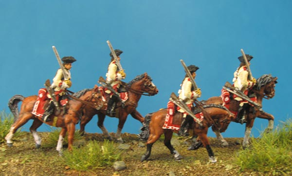 7 Years War: Austrian Cuirassiers Set 7- On the March, Saber on Shoulder (Trotting)
