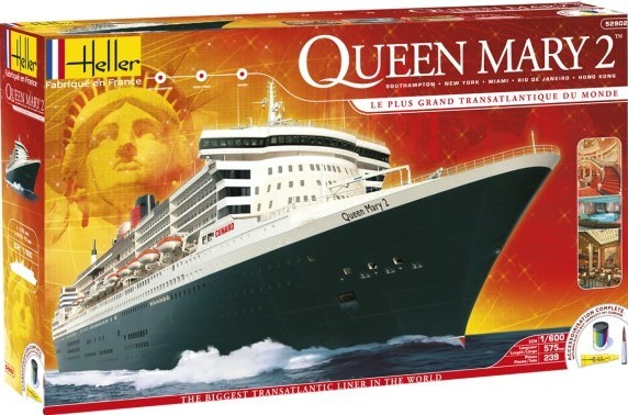 1/600 Queen Mary II Transatlantic Ocean Liner w/Paint & Glue
