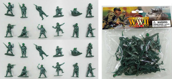 WWII US Infantry Figures (24 Green) (Bagged)