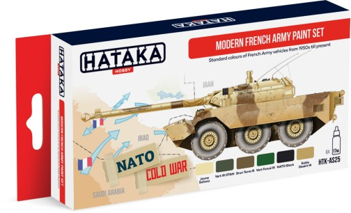 Red Line: Modern French Army Vehicles 1950s-Present Paint Set (6 Colors) - Optimized For Airbrush - 17ml Bottles