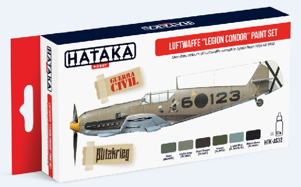 Red Line: Luftwaffe Legion Condor Spain 1936-39 Paint Set (6 Colors) - Optimized For Airbrush - 17ml Bottles