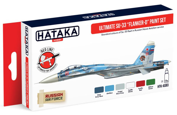 Red Line: Ultimate Su33 Flanker-D Russian Naval Aviation Service Paint Set (6 Colors) - Optimized For Airbrush - 17ml Bottles