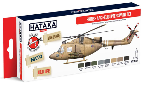 Red Line: British Army Air Corps Helicopters Since 1970s Paint Set (4 Colors) - Optimised For Airbrush - 17ml Bottles