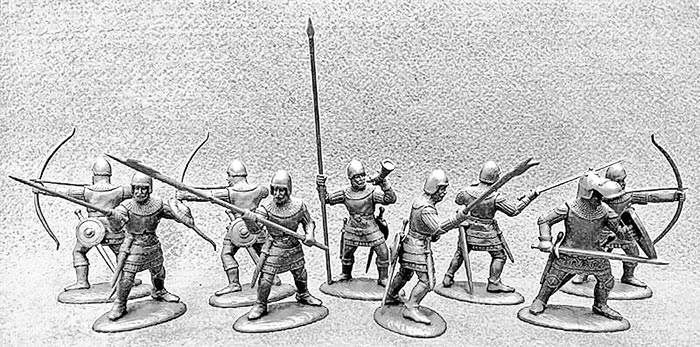 14th Century French Army Archers & Billmen in Light Metallic Armor