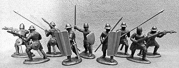 14th Century English Army Crossbowmen & Pavisiers in Dark Metallic Armor