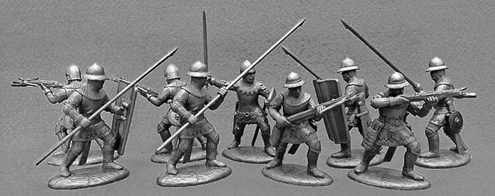 14th Century French Army Dismounted Men-at-Arms & Armati in Light Metallic Armor