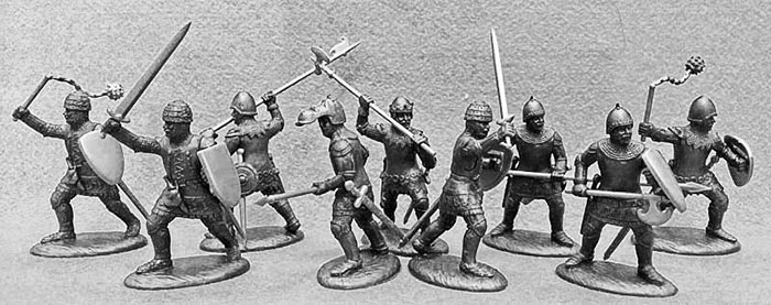 14th Century English Army Dismounted Men-at-Arms & Armati in Dark Metallic Armor