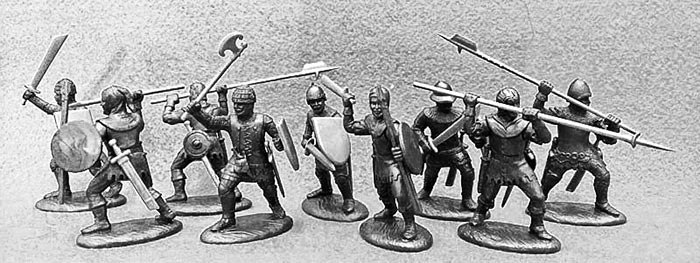 14th Century English Army Free Companies in Dark Metallic Armor