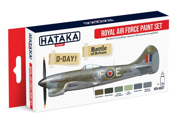 Red Line: RAF D-Day Battle of Britain Camouflage Paint Set (6 Colors) - Optimized For Airbrush - 17ml Bottles