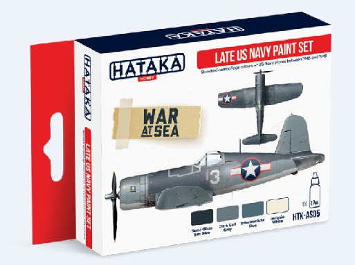 Red Line: Late US Navy 1943-45 Camouflage Paint Set (4 Colors) - Optimized For Airbrush - 17ml Bottles