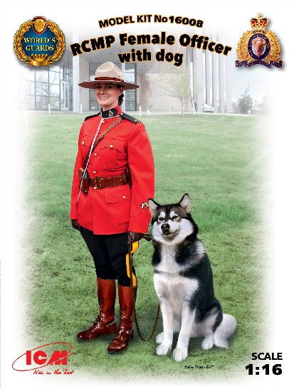 Royal Canadian Mounted Police Female Officer w/Dog
