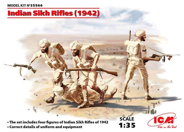 Indian Sikh Rifles 1942 Figure Set (4) (New Tool)
