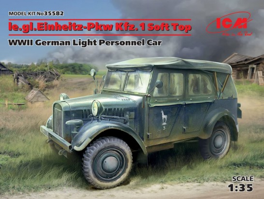 WWII German le.gl.Einheitz PkwKfz 1 Light Personnel Car w/Soft Top
