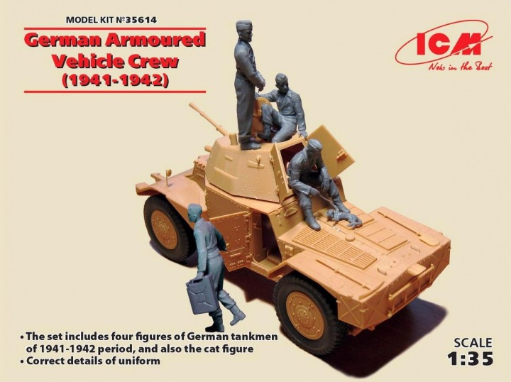 WWII German Armored Vehicle Crew 1941-42 (4 w/Cat) (New Tool)