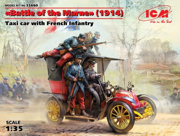 Renault AG1 French Taxi w/4 French Infantry Battle of the Marne 1914