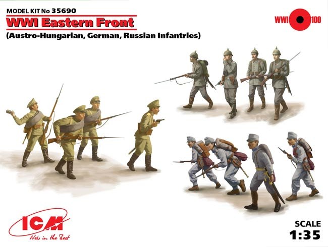 WWI Eastern Front Infantry Figure Set: Austro-Hungarian, German & Russian