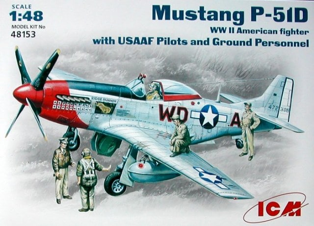 WWII USAAF P51D Mustang Fighter w/Pilots & Ground Personnel