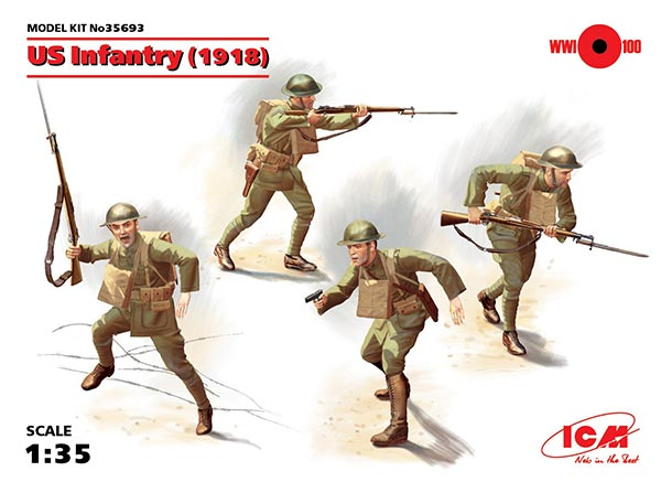 WWI US Infantry 1918 - 4 figure set