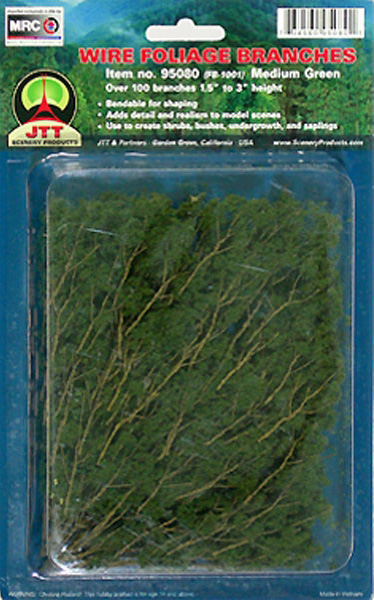 Wire Foliage Branches Medium Green, (60 per pkg)