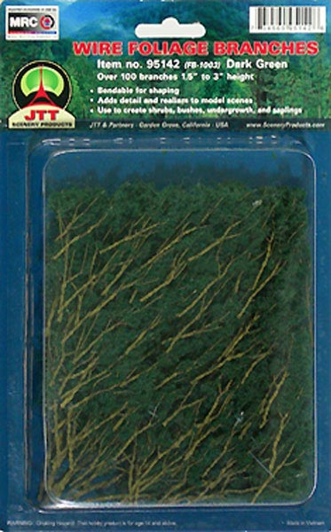 Wire Foliage Branches Dark Green, (60 per pkg)