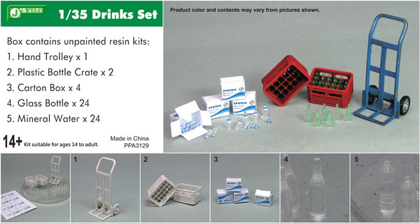 Drinks Set: Soda and Water Bottles, Boxes/Crates, Hand Truck