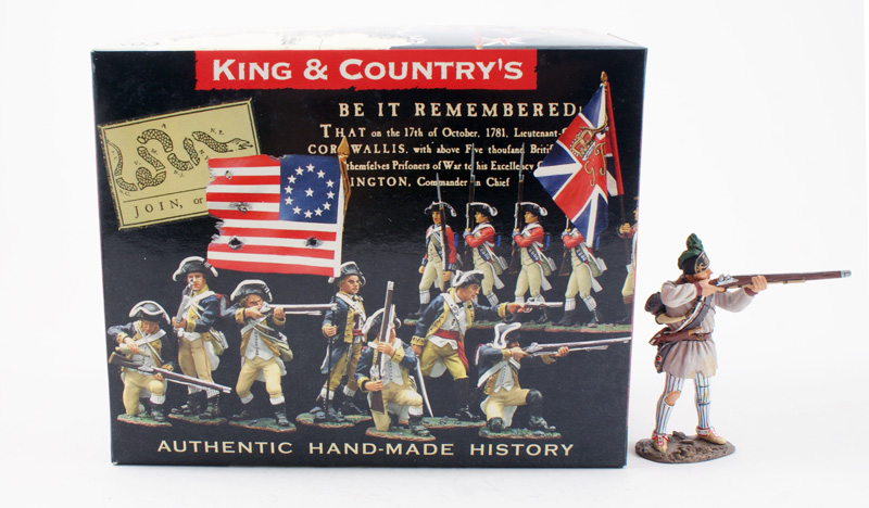 KING & COUNTRY AR054 AMERICAN REVOLUTION COLONIAL MILITIA STANDING FIRING 1 AVAILABLE OOP