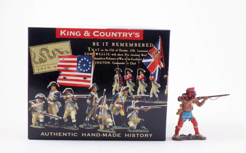 KING & COUNTRY BR046 AMERICAN REVOLUTION INDIAN STANDING FIRING 1 AVAILABLE OOP