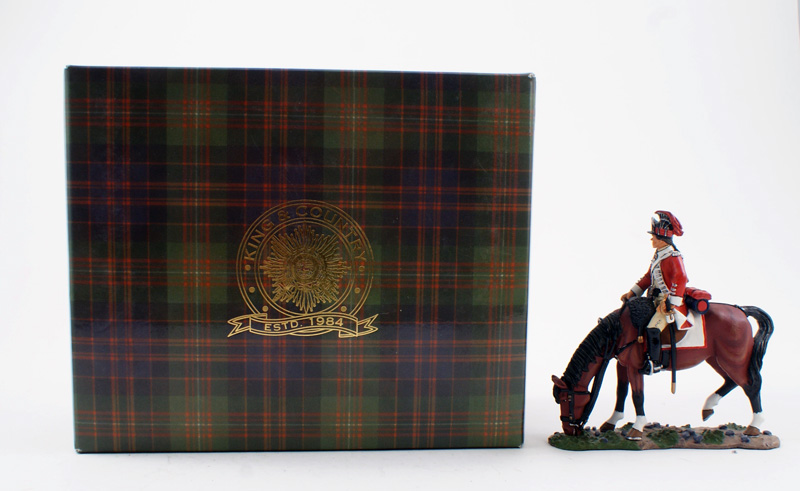 KING & COUNTRY BR055 AMERICAN REVOLUTION MOUNTED BRITISH DRAGOON 1 AVAILABLE OOP