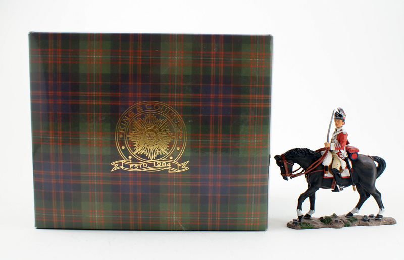 KING & COUNTRY BR057 AMERICAN REVOLUTION MOUNTED BRITISH DRAGOON OFFICER 1 AVAILABLE OOP