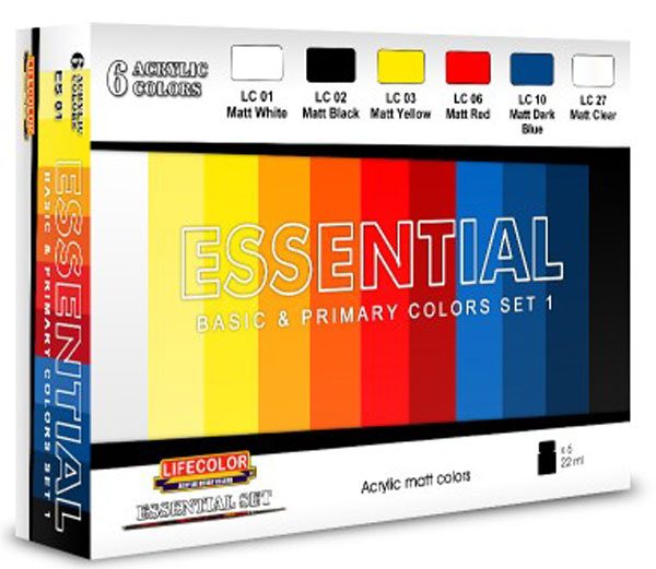 Essential Basic & Primary Colors Acrylic Set 1 (6 22ml Bottles)