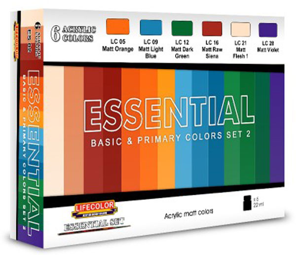 Essential Basic & Primary Colors Acrylic Set 2 (6 22ml Bottles)