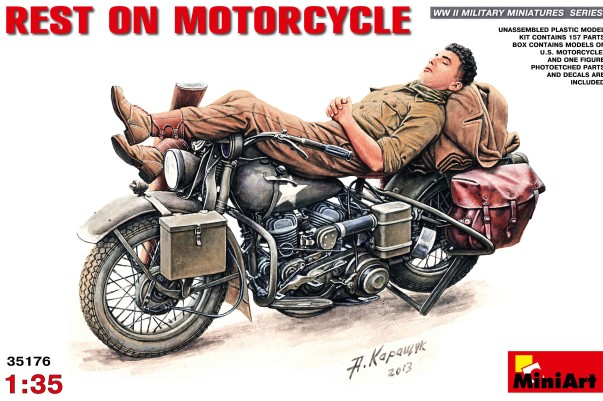 Soldier Resting on Motorcycle