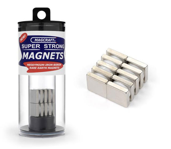 1/2in x 1/2in x 1/8in Rare Earth Block Magnets (10)