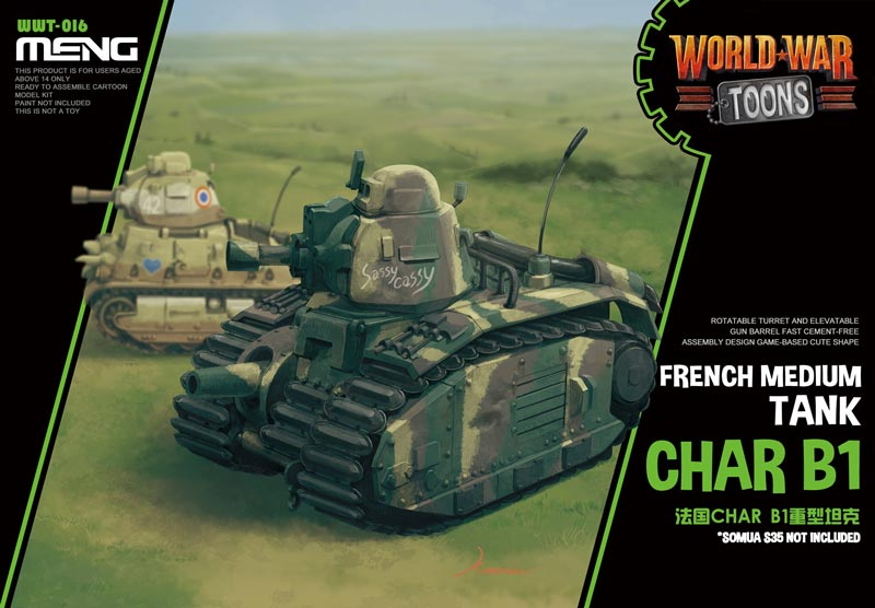 French Heavy Tank Char B1 - World War Toons Meng Model Kids Caricature Series