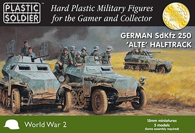 WWII German SdKfz 250 Alte Halftrack (5) and Crew (40)