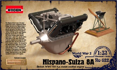 Hispano Suiza 8A WWI 150hp Water-Cooled Aircraft Engine