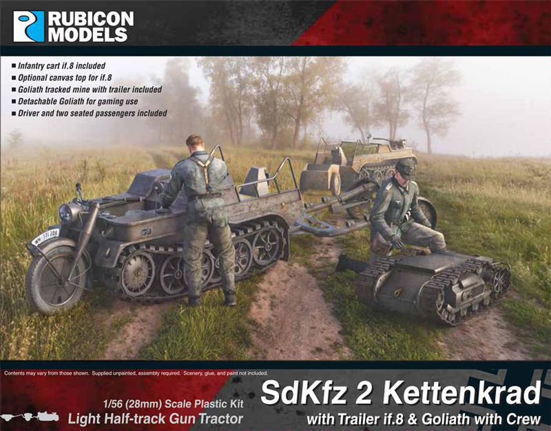WWII German SdKfz 2 Kettenkrad with Trailer if.8 & Goliath with Crew