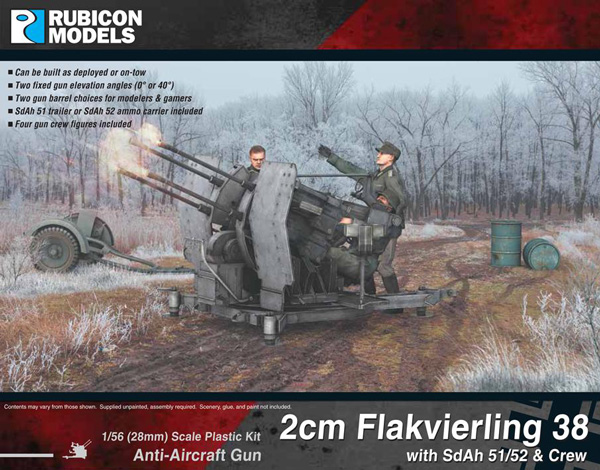WWII German 2cm Flakvierling 38 with SdAh 51/52 Trailer & Crew
