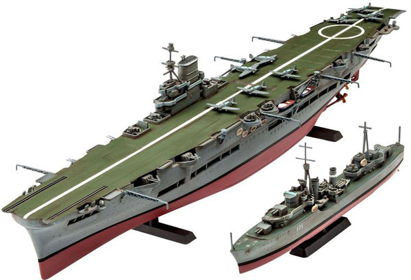 HMS Ark Royal Aircraft Carrier & Tribal Class Destroyer (2 Kits) (1/720)
