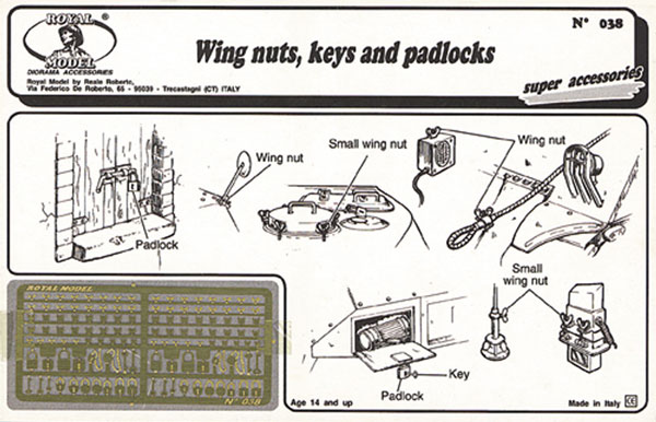 Wing Nuts, Keys, Padlocks (Photo-Etch)