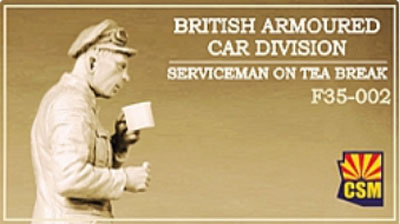 British Armoured Car Division Serviceman on Tea Break