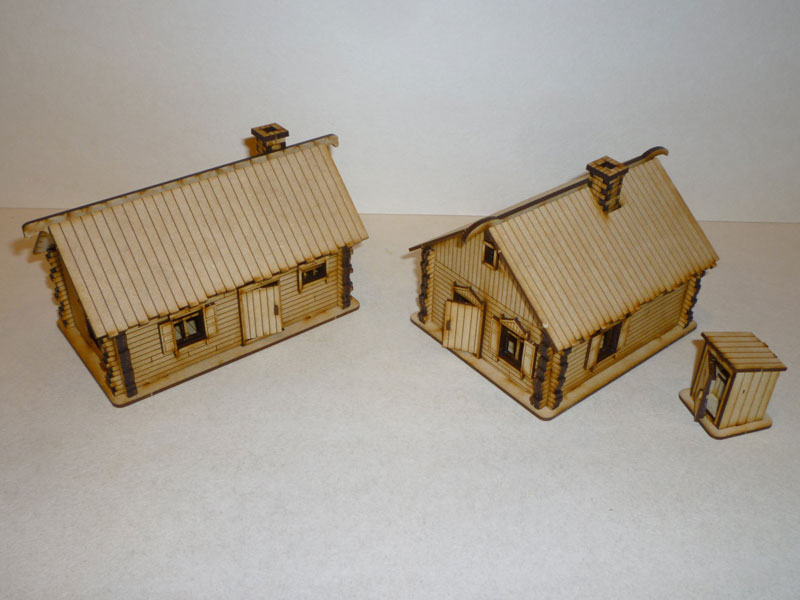 Eastern European 2 Log Cabins - 1/72nd scale MDF