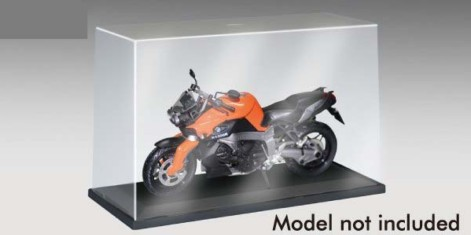 Showcase for 1/12 Motorcycle (9.7L x 4W x 6H) Black Base