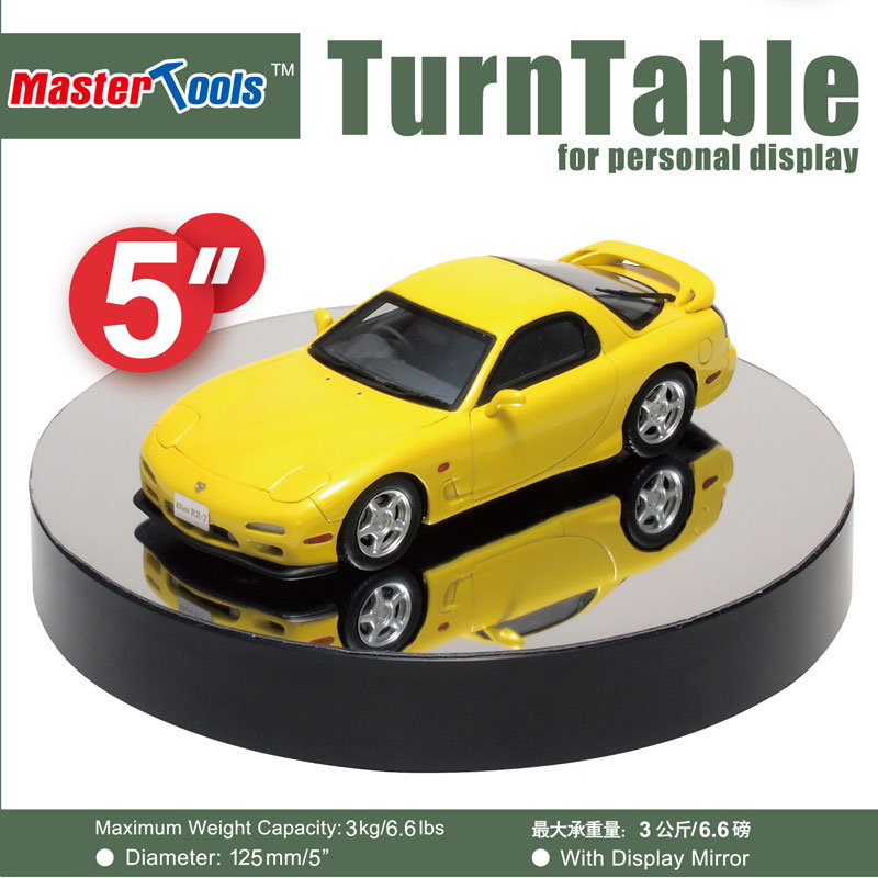 Battery Operated Round Mirrored Display Turntable for Model Kits (5