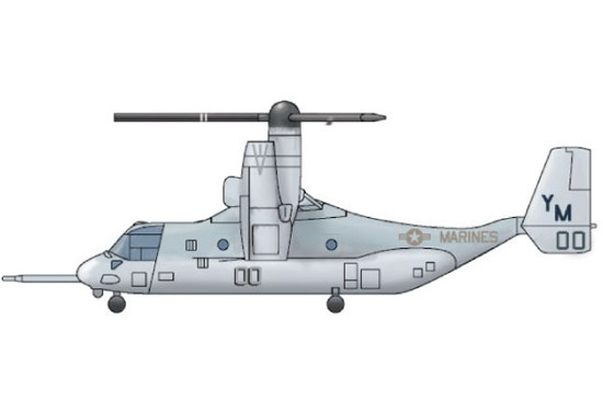 MV22 Osprey V/STOL Tilrotor Aircraft Set for Warships (3/Bx)