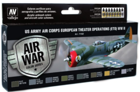 US Army Air Corps European Theater Operations (ETO) WWII Model Air Paint Set (8 Colors)