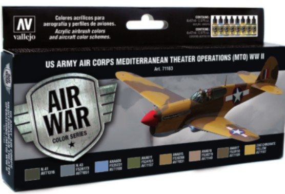 US Army Air Corps Mediterranean Theater Operations (MTO) WWII Model Air Paint Set (8 Colors)