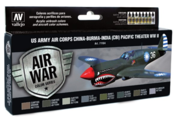 US Army Air Corps China-Burma-India Pacific Theater (CBI) WWII Model Air Paint Set (8 Colors)