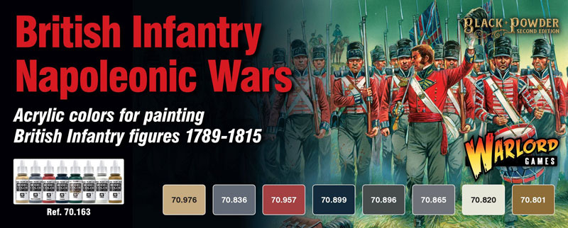 British Infantry Napoleonic 1789-1815 Wargames Paint Set (8 Colors) 17ml Bottle